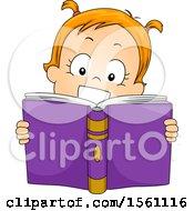 Toddler Girl Reading A Book