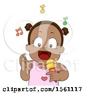 Clipart Of A Black Toddler Girl Singing Royalty Free Vector Illustration by BNP Design Studio