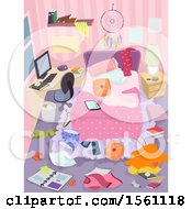 Clipart Of A Messy Teenage Girls Bedroom Royalty Free Vector Illustration
