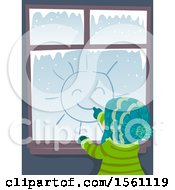 Rear View Of A Child Drawing A Sun On A Window On A Winter Day