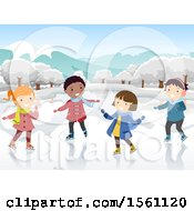 Clipart Of A Group Of Children Ice Skating Royalty Free Vector Illustration