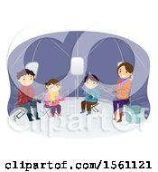 Happy Family Ice Fishing In A Tent