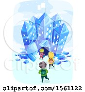 Clipart Of A Group Of School Children Entering An Ice Crystal Building Royalty Free Vector Illustration