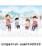 Clipart Of A Happy Family Ice Fishing Royalty Free Vector Illustration
