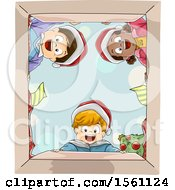 Happy Group Of Children Wearing Santa Hats And Looking Into A Christmas Gift Box