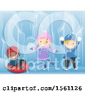 Clipart Of A Group Of Children Holding Snowballs Ice Skating And Tubing Royalty Free Vector Illustration