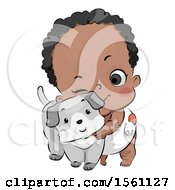 Clipart Of A Cute Black Baby Cuddling With A Puppy Dog Royalty Free Vector Illustration