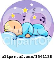 Clipart Of A Sleeping Baby With Stars And Music Notes Royalty Free Vector Illustration