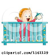 Clipart Of A Toddler Baby In A Crib Royalty Free Vector Illustration