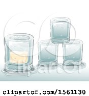 Clipart Of Ice Glasses With Alcohol Royalty Free Vector Illustration by BNP Design Studio