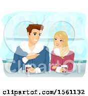 Clipart Of A Couple Enjoying Hot Coffee On A Winter Day Royalty Free Vector Illustration