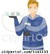 Clipart Of A Blond Male Waiter Serving Beverages At An Ice Bar Royalty Free Vector Illustration