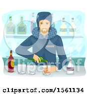 Clipart Of A Male Bartender Pouring Beverages At An Ice Bar Royalty Free Vector Illustration