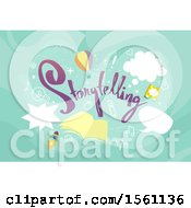 Clipart Of Speech Bubbles Book And Doodles With Storytelling Text Royalty Free Vector Illustration
