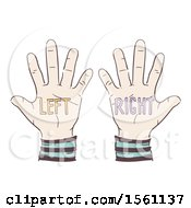 Clipart Of Left And A Right Hands Royalty Free Vector Illustration