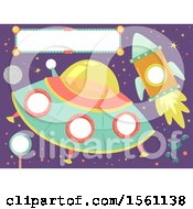Clipart Of A Ufo Rocket And Sign Royalty Free Vector Illustration