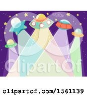 Clipart Of A Group Of Ufos With Light Beams Royalty Free Vector Illustration