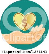 Clipart Of A Hand With A Heart Dollar Coin Royalty Free Vector Illustration