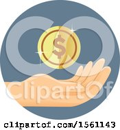 Clipart Of A Hand With A Dollar Coin Royalty Free Vector Illustration