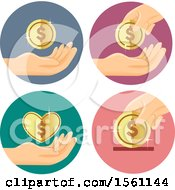Clipart Of Hands With Dollar Coins Royalty Free Vector Illustration