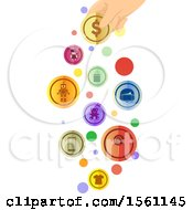 Clipart Of A Hand Holding A Coin With Toy Gadget And Clothing Icons Royalty Free Vector Illustration