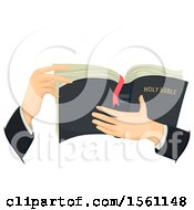 Hands Of A Priest Holding A Holy Bible
