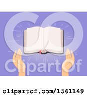 Clipart Of Hands With An Open Blank Bible Royalty Free Vector Illustration