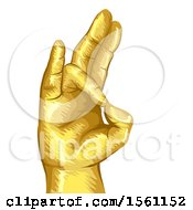 Clipart Of A Gold Hand In Prithvi Mudra Or Gesture Of Earth Royalty Free Vector Illustration