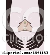 Clipart Of Silhouetted Hands With A Church In The Middle Royalty Free Vector Illustration