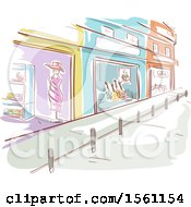 Sketched Street With Store Fronts