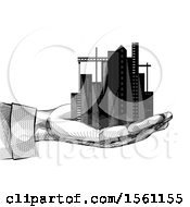 Clipart Of A Sketched Hand Holding A City Royalty Free Vector Illustration