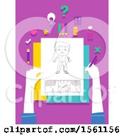 Clipart Of Hands Holding A Pencil And Paper With Drawings For Comics Royalty Free Vector Illustration
