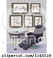 Clipart Of A Tattoo Shop Interior With Art On The Wall And A Chair Royalty Free Vector Illustration by BNP Design Studio