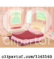 Clipart Of A Victorian Theme Bedroom Interior Royalty Free Vector Illustration