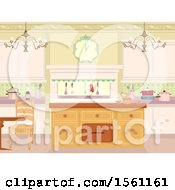Clipart Of A Victorian Themed Kitchen Interior Royalty Free Vector Illustration