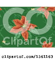 Clipart Of A Seamless Christmas Poinsettia Background Royalty Free Vector Illustration