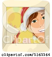 Clipart Of A Happy Man Wearing A Santa Hat And Looking Into A Christmas Gift Box Royalty Free Vector Illustration
