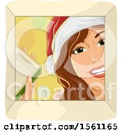 Clipart Of A Happy Woman Wearing A Santa Hat And Looking Into A Christmas Gift Box Royalty Free Vector Illustration