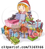 Clipart Of A Pile Of Christmas Presents Royalty Free Vector Illustration