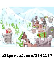 Clipart Of A Christmas Village With Gifts On The Roof Tops Royalty Free Vector Illustration