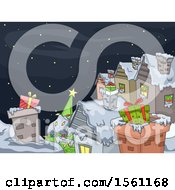 Clipart Of A Wintry Christmas Village Under A Starry Sky With Gifts On The Roof Tops Royalty Free Vector Illustration