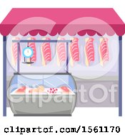 Clipart Of A Meat Stand Royalty Free Vector Illustration