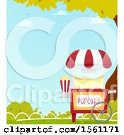 Clipart Of A Popcorn Cart In A Park Royalty Free Vector Illustration
