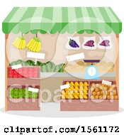 Clipart Of A Produce Stand Royalty Free Vector Illustration
