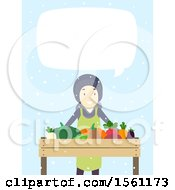 Clipart Of A Happy Man Selling Produce And Talking At A Winter Farmers Market Over Blue With Snow Royalty Free Vector Illustration