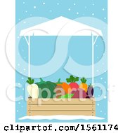 Clipart Of A Winter Farmers Market Vendor Stall With Produce Over Blue With Snow Royalty Free Vector Illustration