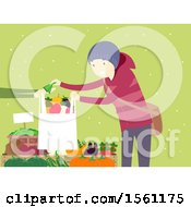 Clipart Of A Happy Man Purchsing Produce At A Winter Farmers Market Over Green With Snow Royalty Free Vector Illustration