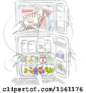 Hands Reaching For Different Foods Inside The Refrigerator