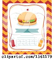 Clipart Of A Burger With Tiny Flag Ribbon Mustard Ketchup Sauce And Space For Text Royalty Free Vector Illustration