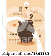 Clipart Of Hands Holding A Jar On A Pottery Wheel With Different Design Elements Royalty Free Vector Illustration